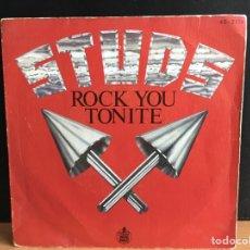 Discos de vinilo: STUDS - ROCK YOU TONITE (SINGLE) (D:VG+). Lote 194304721