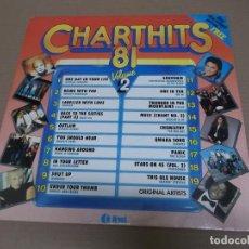 Discos de vinilo: CHART HITS ´81 VOL. 2 (LP) (VER FOTO CONTENIDO COMPLETO) AÑO – 1981 - EDICION U.K.. Lote 194336461