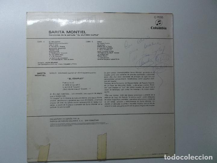 Discos de vinilo: SARA MONTIEL CANCIONES DE LA PELICULA EL ULTIMO CUPLE - Foto 3 - 194341503