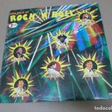 Discos de vinilo: THE BEST OF ROCK'N'ROLL (LP) (VER FOTO CONTENIDO COMPLETO) AÑO – 1986 – DOBLE DISCO PORTADA ABIERTA . Lote 194349201