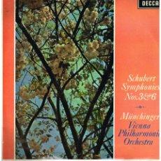 Discos de vinilo: SCHUERT SYMPHONIES 3 Y 6 - ORQUESTA FILARMONICA DE VIENNA - DIR MUNCHINGER - LP 1967. Lote 194377831