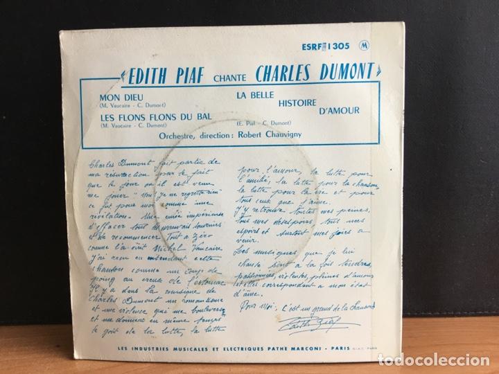 Discos de vinilo: Edith Piaf - Edith Piaf Chante Charles Dumont (EP) (Columbia)(D:VG+) - Foto 2 - 194379963