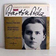 Discos de vinilo: BELA BARTOK - GÁBOR GABOS - FOUR PIANO PIECES - HUNGAROTON SLPX1300 EX/VG+. Lote 194382935