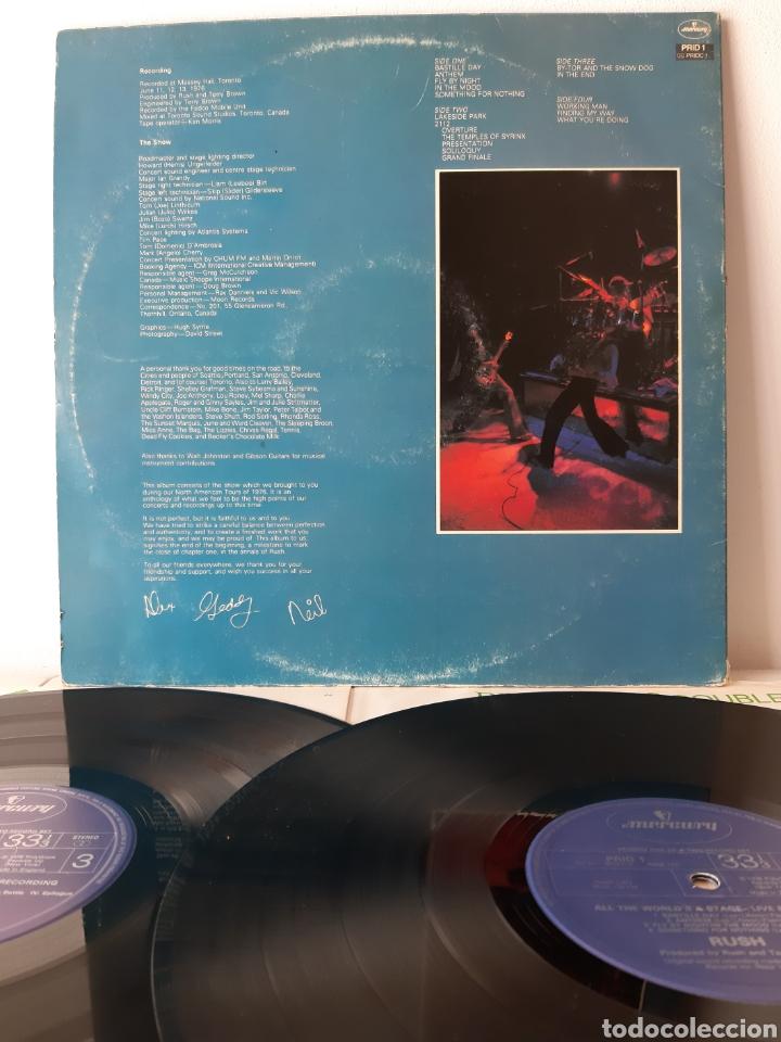 Discos de vinilo: RUSH. ALL THE WORLDS A STATE. LIVE RECORDING. MERCURY. UK. REDICCION 1986? - Foto 4 - 194387275