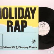 Discos de vinilo: DISCO MAXI SINGLE DE VINILO - HOLIDAY RAP / M.C. MIKER G & DEEJAY SVEN - BLANCO Y NEGRO - AÑO 1986. Lote 194489725