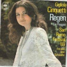 Discos de vinilo: GIGLIOLA CINQUETTI REGEN 5L4ORAGE° CBS 4027 WEST GERMANY . Lote 194494236