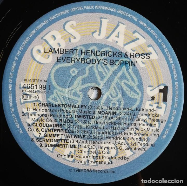 Discos de vinilo: Lambert, Hendricks & Ross – Everybodys Boppin, CBS 465199 1 - Foto 6 - 194509770