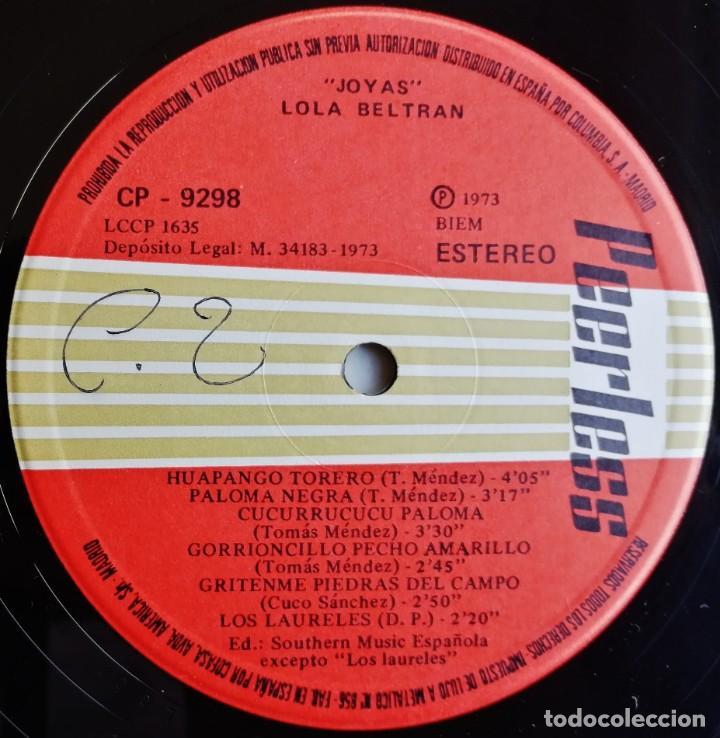 Discos de vinilo: Lola Beltran – Joyas, Peerless CP 9298 - Foto 6 - 194510462