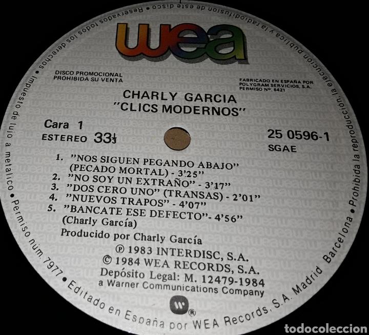 Discos de vinilo: LP - CHARLY GARCIA - CLICS MODERNOS - PROMO - CHARLY GARCIA - PROMOCIONAL - SUI GENERIS - Foto 2 - 194514270