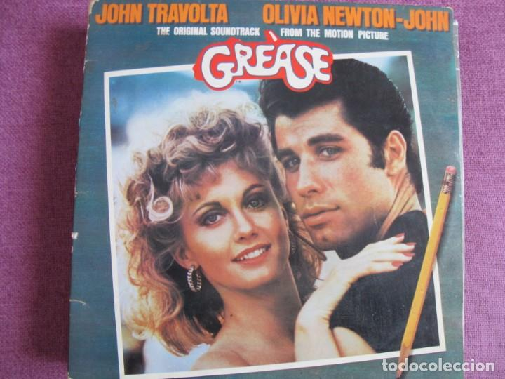 LP - GREASE - JOHN TRAVOLTA WITH OLIVIA NEWTON-JOHN (DOBLE DISCO, RSO 1976) (Música - Discos - LP Vinilo - Bandas Sonoras y Música de Actores )