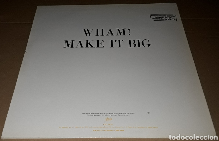 Discos de vinilo: LP - WHAM ! - MAKE IT BIG - PROMO - WHAM / GEORGE MICHAEL - PROMOCIONAL - Foto 3 - 194521376