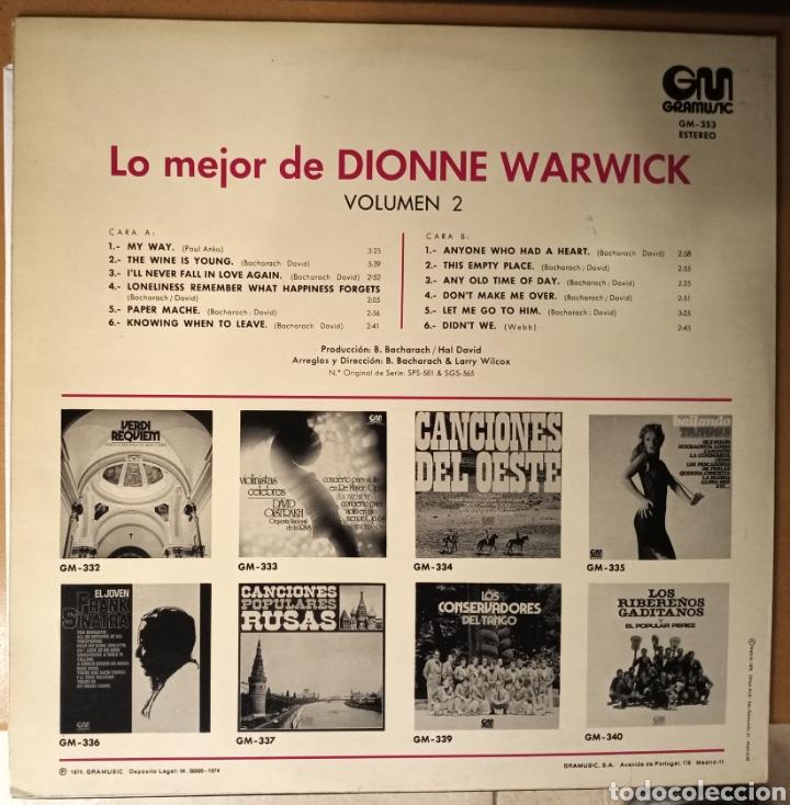 Discos de vinilo: Dionne Warwick - lo mejor volumen 2 - vinilo - Foto 2 - 194526837