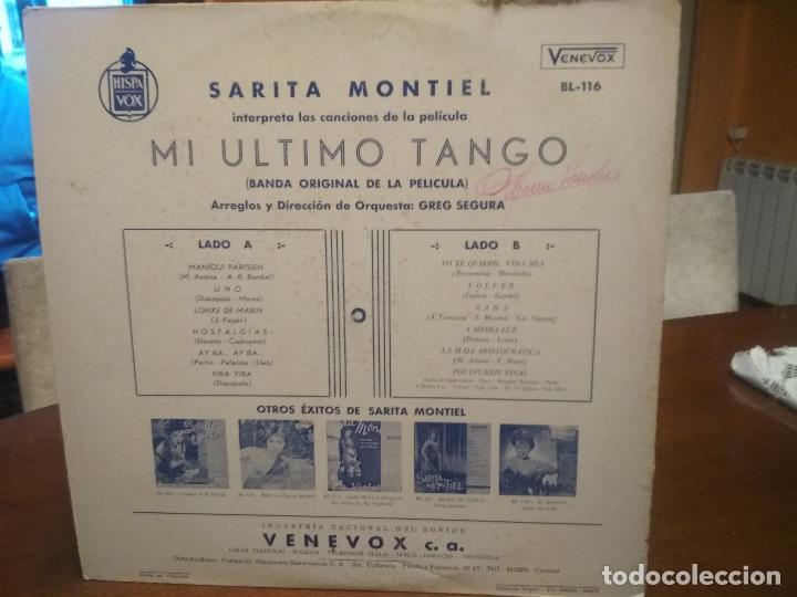 Discos de vinilo: SARITA MONTIEL - MI ULTIMO TANGO (LP VENEVOX HECHO EN VENEZUELA) SARA MONTIEL - Foto 2 - 194529378