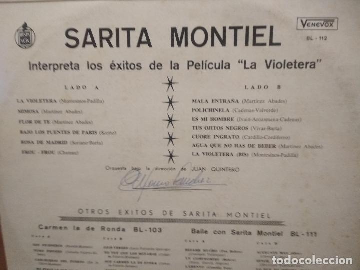 Discos de vinilo: SARA MONTIEL INTERPRETA LAS CANCIONES DE LA PELICULA LA VIOLETERA- VENEZUELA - Foto 2 - 194530080