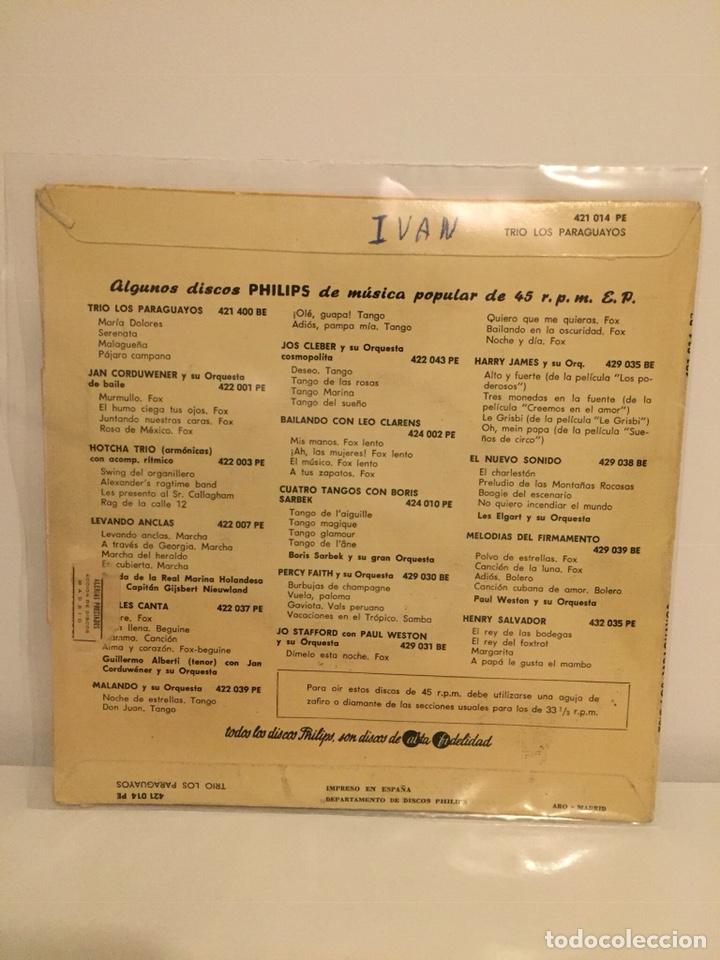 Discos de vinilo: TRIO LOS PARAGUAYOS-/MIS NOCHES SIN TI/ALMA VIBRANTE/MADRECITA/+1/EPs 1959 PHILIPS 421 014 - Foto 3 - 194535168