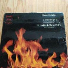 Discos de vinilo: MANUEL DE FALLA. EL AMOR BRUJO, EL RETABLO DE MAESE PEDRO. Lote 194535358