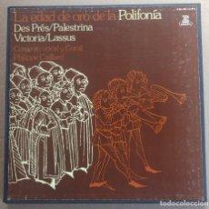 Discos de vinilo: LA EDAD DE ORO DE LA POLIFONÍA - PHILIPPE CAILLARD / CAJA 4 LPS Y LIBRETO / EDICIÓN DE 1981. Lote 194536743