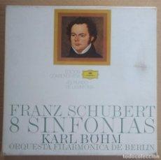 Discos de vinilo: SCHUBERT- 8 SINFONIAS - KARL BÖHM, FILARMÓNICA DE BERLIN / CAJA 5 LPS Y LIBRETO. Lote 194538002