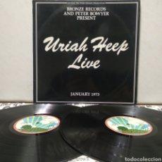 Discos de vinilo: URIAH HEEP - URIAH HEEP LIVE 2XLP 1973 ED ALEMANA GATEFOLD CON LIBRETO Y ENCARTES. Lote 194555442