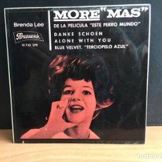 Discos de vinilo: BRENDA LEE - MORE MAS (EP, MONO) (BRUNSWICK) (D:NM). Lote 194569556