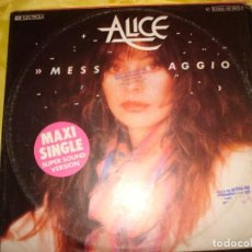 Discos de vinilo: ALICE. MESSAGGIO / LA MANO. EMI , 1982. MAXI-SINGLE. EDC. GERMANY. IMPECABLE (#). Lote 194602403