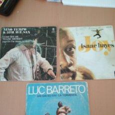 Discos de vinilo: LOTE 3 SINGLES LUC BARRETO, ISAAC HAYES, NINO TEMPO. Lote 194603905