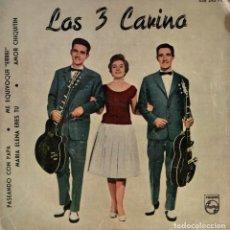 Discos de vinilo: LOS 3 CARINO - PASEANDO CON PAPA + 3 - EP SPAIN 1960 . Lote 194608163