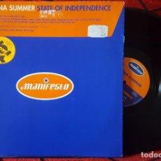 Discos de vinilo: DONNA SUMMER STATE OF INDEPENDENCE MAXI SINGLE VINILO UK 1996. Lote 194611121