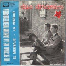 Discos de vinilo: SINGLE. DUO DINAMICO. EL MENSAJE. Lote 194612115