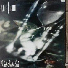 Discos de vinilo: RUBICON -WHAT STARTS ENDS- LP 1992 BBK ENGLAND. Lote 194616971