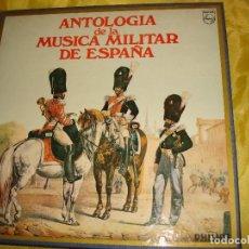 Discos de vinilo: ANTOLOGIA DE LA MUSICA MILITAR DE ESPAÑA. CAJA CON 10 LP´S + LIBRETO. PHILIPS, 1977. IMPECABLE. Lote 194619673
