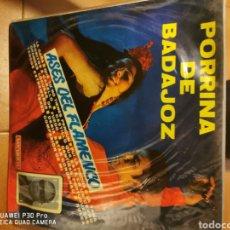 Discos de vinilo: LP PORRINA DE BADAJOZ ASES DEL FLAMENCO. Lote 194620027
