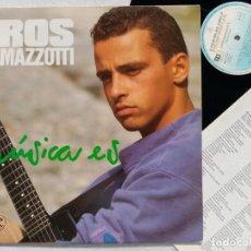 Discos de vinilo: EROS RAMAZZOTTI - MUSICA ES - LP CON INSERTO 1988 - HISPAVOX. Lote 194621137