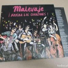Discos de vinilo: MALEVAJE (LP) ARRIBA LOS CORAZONES AÑO – 1987. Lote 194625006
