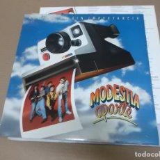 Discos de vinilo: MODESTIA APARTE (LP) HISTORIAS SIN IMPORTANCIA AÑO – 1991 – HOJA DESPLEGABLE CON LETRAS + SOBRECUBIE. Lote 194634901