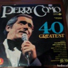 Discos de vinilo: PERRY COMO- 40 GREATEST- 2 LP. Lote 194637597