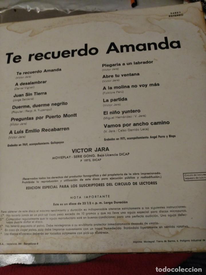 Discos de vinilo: LP Víctor Jara. Te recuerdo Amanda - Foto 2 - 194638033