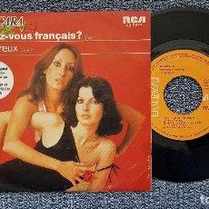Discos de vinilo: BACCARA - PARLEZ-VOUS FRANÇAIS / AMOUREUX. EDITADO POR RCA. AÑO 1.978. Lote 194640513