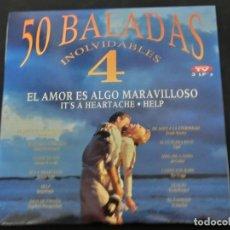 Discos de vinilo: LP TRIPLE - 50 BALADAS INOLVIDABLES 4 - EL AMOR ES ALGO MARAVILLOSO - IT'S A HEARTACHE - HELP - 1994. Lote 194645667