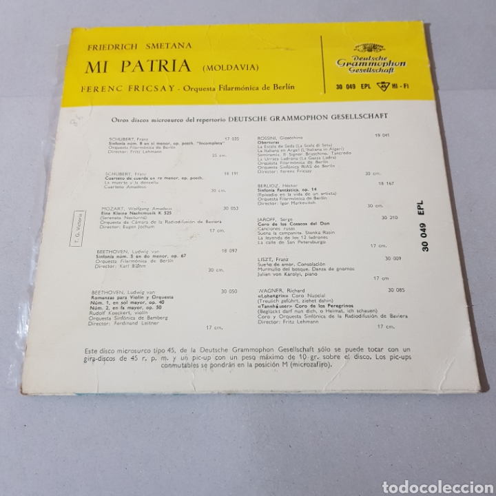 Discos de vinilo: MI PATRIA ( MOLDAVIA ) FRIEDERCH SMETANA - FERENC FRICSAY - ORQUESTA FILARMONICA DE BERLIN - Foto 2 - 194652568