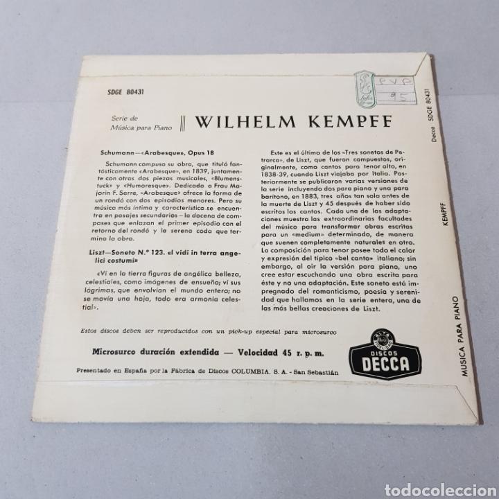 Discos de vinilo: WILHELM KEMPFF - ARABESQUE OP. 18 - AÑOS DE PEREGRINAJE ( MUSICA PARA PIANO ) - Foto 2 - 194657473