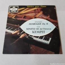 Discos de vinilo: WILHELM KEMPFF - ARABESQUE OP. 18 - AÑOS DE PEREGRINAJE ( MUSICA PARA PIANO ). Lote 194657473