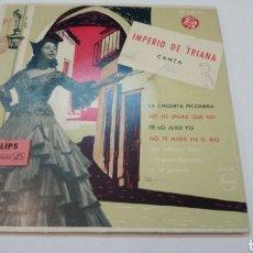 Discos de vinilo: IMPERIO DE TRIANA - LA CHIQUITA PIONERA / NO ME DIGAS QUE NO / TE LO JURO YO. EP VINILO. Lote 194664608