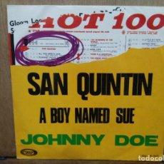 Discos de vinilo: JOHNNY DOE - SAN QUINTIN / A BOY NAMED SUE - SINGLE DEL SELLO MOVIEPLAY 1969. Lote 194676160