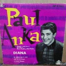 Discos de vinilo: PAUL ANKA - DIANA, NO JUEGUES CON EL AMOR, TE QUIERO PEQUEÑA... - EP. DEL SELLO HISPAVOX 1959. Lote 194676400