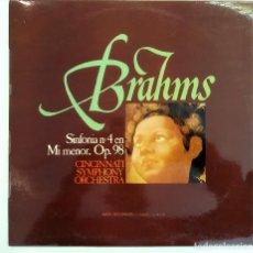 Discos de vinilo: LP BRAHMS, SIMFONÍA Nº 4 EN MI MENOR,CINCINNATI SIMPHONY ORCHESTRA,ESPAÑA 1974, MCA S-14.178(VG+_NM). Lote 194692575
