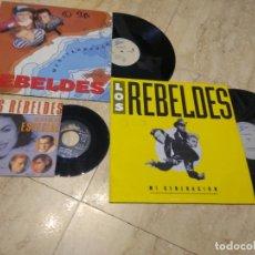 Discos de vinilo: LOS REBELDES- DOS MAXI SINGLE+ SINGLE ERES ESPECIAL. Lote 194701651
