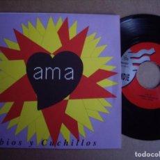 Discos de vinilo: AMA SG 7''LABIOS Y CUHILLOS JAMMIN 1992 POP EX+. Lote 194719478