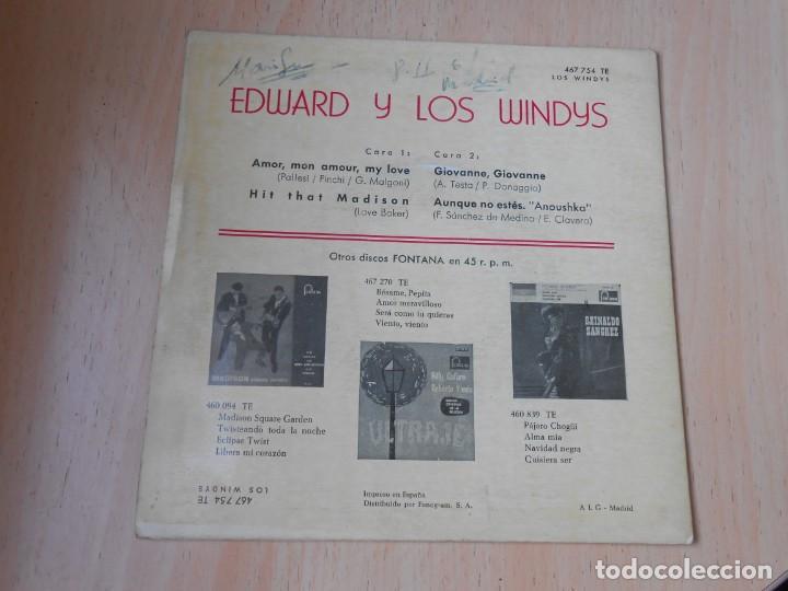 Discos de vinilo: WINDYS, LOS - EDWARD Y LOS WINDYS -, EP , AMOR, MON AMOUR, MY LOVE + 3, AÑO 1963 - Foto 2 - 194724628