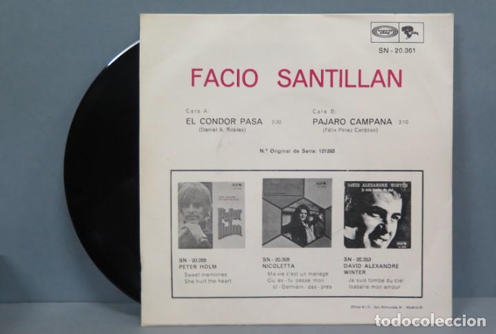Discos de vinilo: SINGLE. FACIO SANTILLAN. SORTILEGIO DE LA FLAUTA DE LOS ANDES. EL CONDOR PASA - Foto 2 - 194729168